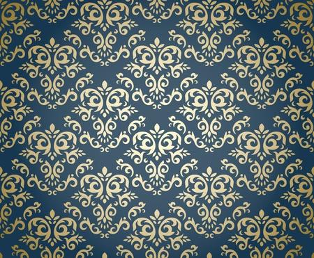 Modello Damask seamless stilizzato su sfondo sfumato, come tessile Può essere usato come carta da parati a ripetere, tessile, carta da pacchi, sfondo, ecc