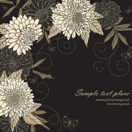 black branch: Floral background with hand drawn flowers