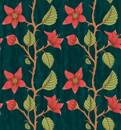 textile image: Floral seamless pattern  Hand drawn flowers  Bright colors