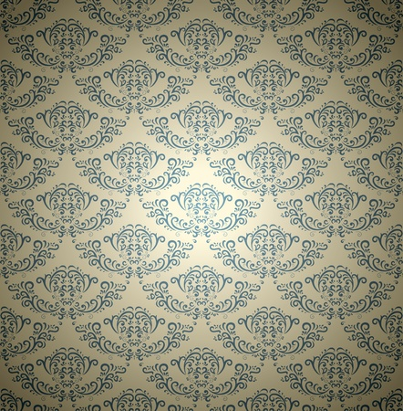 Damask seamless pattern on gradient background  Could be used as repeating wallpaper, textile, wrapping paper, background, etc  Vector