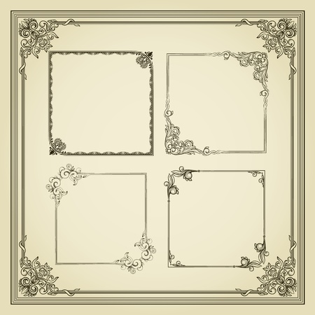 baroque border: Five vintage frame in retro style