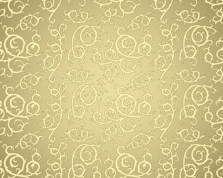 vintage seamless pattern with curls on gradient background Vector