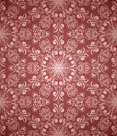vintage seamless pattern on red background with floral elements Vector