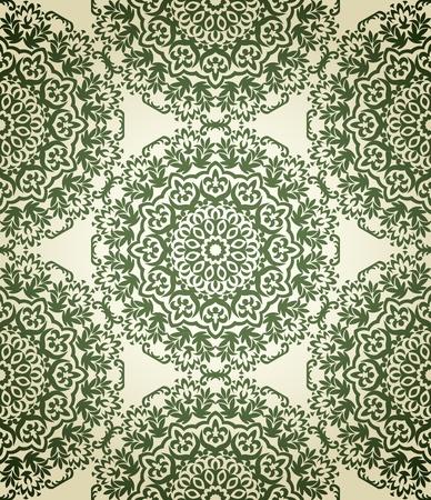 vintage naadloze patroon op beige achtergrond met florale elementen Stock Illustratie
