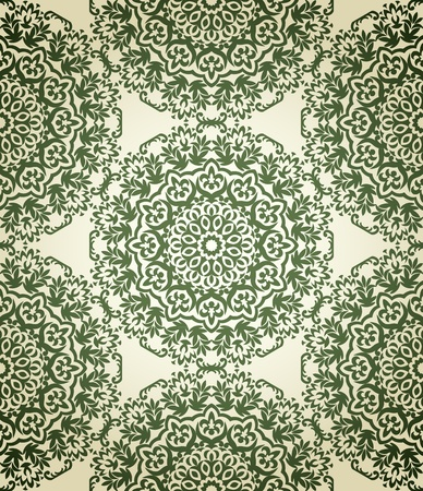 vintage seamless pattern on beige background with floral elements Vector