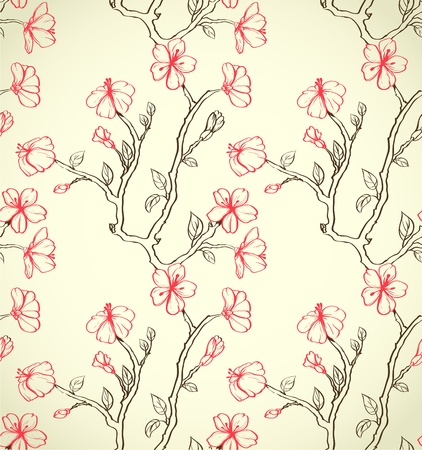 Floral seamless walpaper with sakura on beige background
