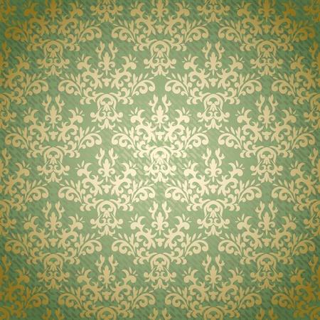 damask background: vintage seamless pattern on green background