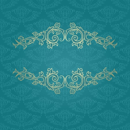 baroque border: Golden vintage frame on blue damask pattern