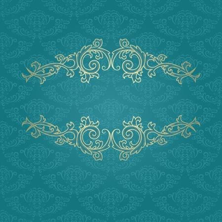 Golden vintage frame on blue damask pattern