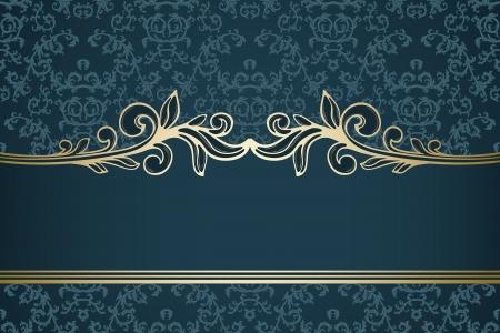 青のダマスク織パターンにゴールデン ビンテージ フレーム  イラスト・ベクター素材