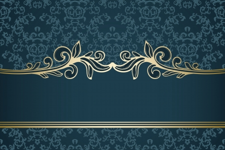 rococo: Golden vintage frame on blue damask pattern