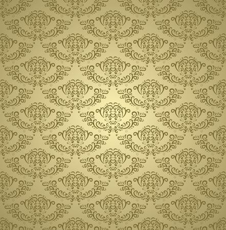 textiles: Golden vintage seamless pattern on gradient background Illustration