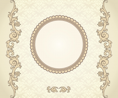 clip: Vintage background with damask pattern in retro style