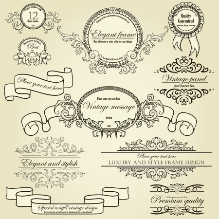 Set of design elements  labels, borders, frames, etc  Could be used for page decoration, certificate, etc Stock Vector - 13629918