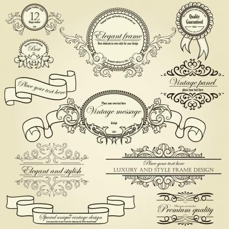 page decoration: Set van design elementen labels, randen, frames, ed Kan gebruikt worden voor pagina decoratie, certificaat, etc.