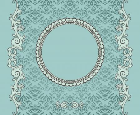 Détail rétro cadre sur la répétition de damas fond d'écran Banque d'images - 13667921