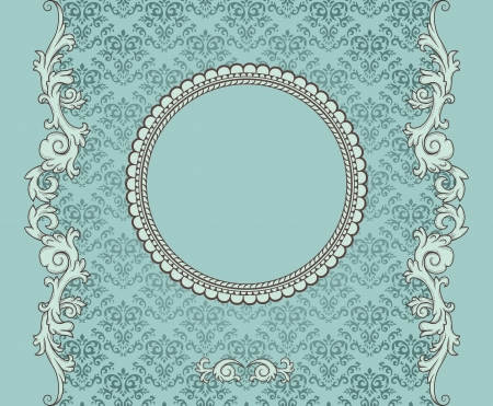 rococo: Detailed retro frame on repeating damask wallpaper