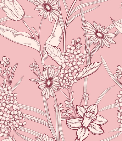 textiles: Floral pattern  Could be used as seamless wallpaper, wrapping paper, background, etc
