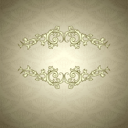 baroque border: Vintage background with damask pattern in retro style