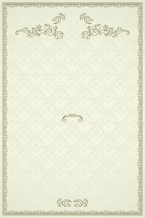 Vintage frame or diploma on damask background