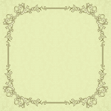 intage frame on damask seamless background  Could be used for invitation, certificate or diploma Stock Vector - 13667923