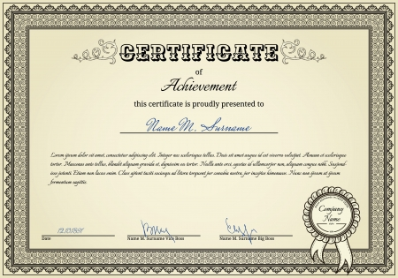 Diploma witn vintage elements and stamp with ribbon Vector