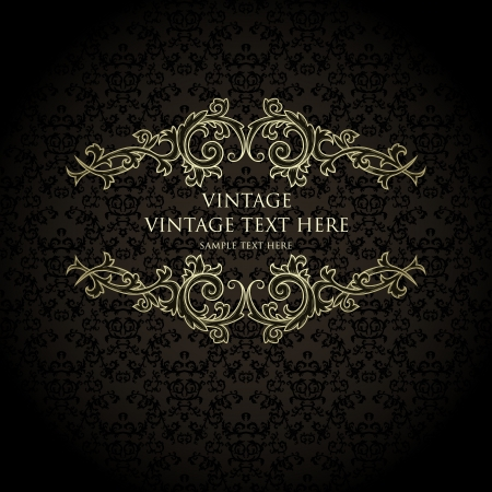 damask frame: Vintage background with damask pattern in retro style
