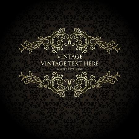 damast: Vintage Hintergrund mit Damast-Muster im Retro-Stil Illustration