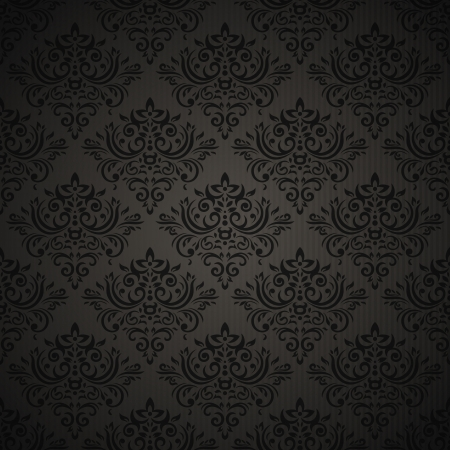 Vintage seamless pattern on dark background with floral elements Vector