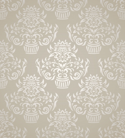 traditional silver wallpaper: Vintage seamless pattern on gradient background with floral elements