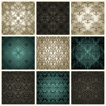 Set of nine vintage seamless patterns Vector