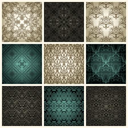 Set of nine vintage seamless patterns