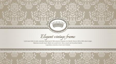silver texture: vintage frame on damask background
