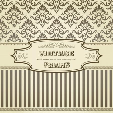 Vintage achtergrond met damast patroon in retro-stijl Stock Illustratie