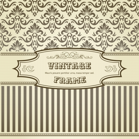 vintage background: Vintage background with damask pattern in retro style