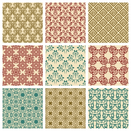 Set of nine seamless pattern in retro style Stock Vector - 13742630