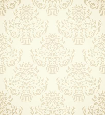 花の要素とグラデーションの背景にヴィンテージのシームレスなパターン
