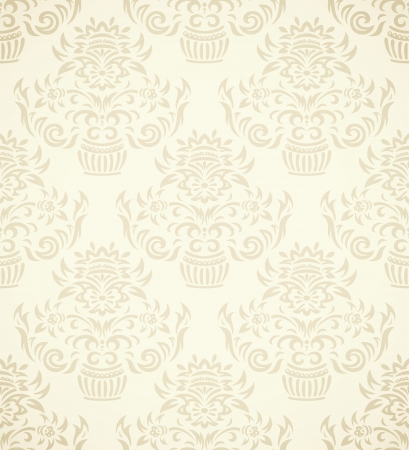 gradient: Vintage seamless pattern on gradient background with floral elements