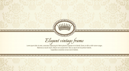 vintage frame on damask background Stock Vector - 13742637