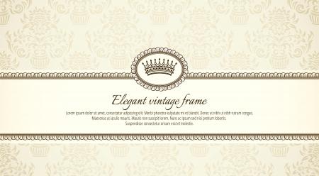 brown background: vintage frame on damask background