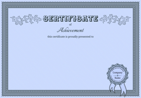 certificate template: Diploma witn vintage elements and stamp with ribbon Illustration