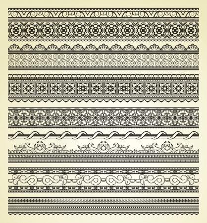 rectangle: Set of vintage lines on beige background