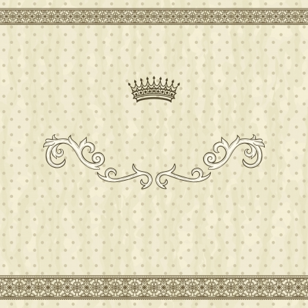 Detailed retro frame  with polka-dot beige background Vector