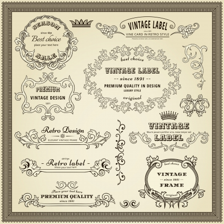 Set of design elements  labels, borders, frames, etc  Could be used for page decoration, certificate, etc Stock Vector - 13840755
