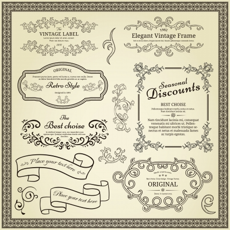 marriage certificate: Set of design elements  labels, borders, frames, etc  Could be used for page decoration, certificate, etc