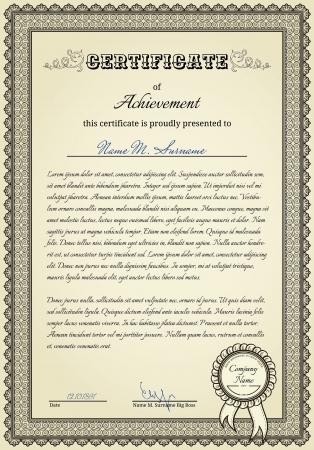 fondo de graduacion: Diploma witn elementos de la �poca y el sello con la cinta Vectores