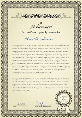 scroll border: Diploma witn vintage elements and stamp with ribbon Illustration
