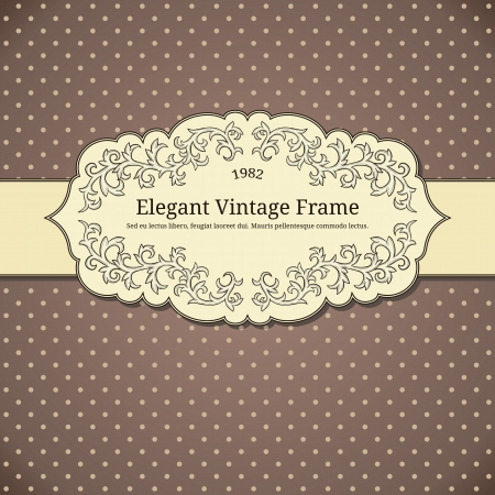 baroque border: Vintage background with polka-dot