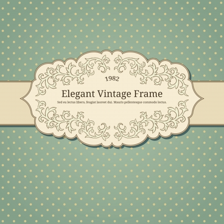vintage background pattern: vintage frame on damask background