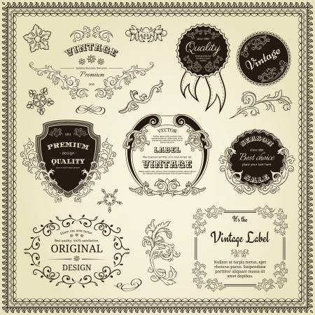 Set of design elements  labels, borders, frames, etc  Could be used for page decoration, certificate, etc Stock Vector - 14189390